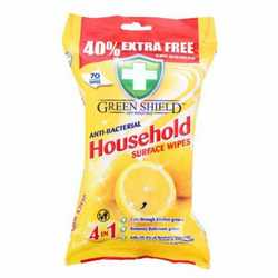 Greenshield Anti-Bacterial Household Surface Wipes - Pack of 70
