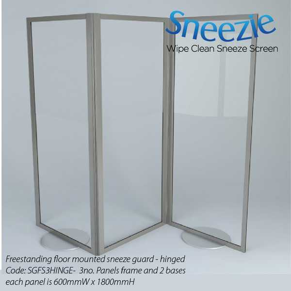 Acrylic Hinged Floor standing Sneeze Guard
