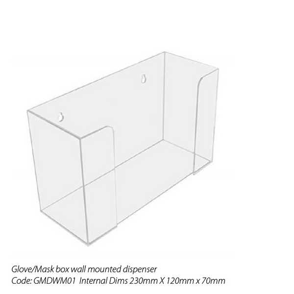 Acrylic Wall Mounted Dispenser for Disposable Gloves/Mask boxes